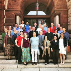 The Harvard chaplains in front of Harvard-Epworth Church .